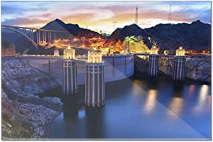 Boulder, Nevada - View of the Hoover Dam at Night with Lights On A-9013182 (12x8 Acrylic Wall Art Gallery Quality)