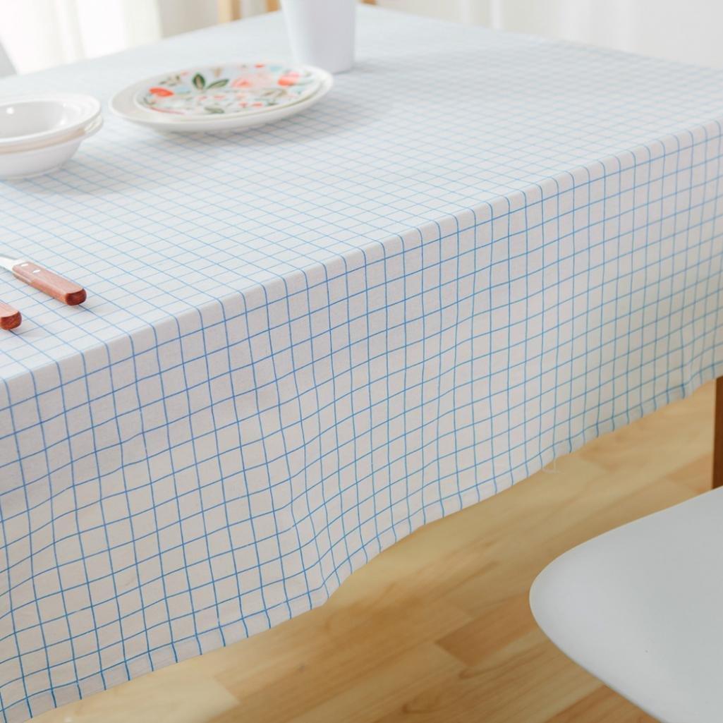GlobalDeal Direct Grid Muster Tischdecke Home Esstisch Bezug Decor Baumwolle Leinen Rechteck Geschenk 100cm x 140cm 100cm x 140cm