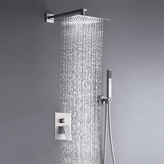 10 Inches Rain Shower System Complete Shower Faucet Set Wall
