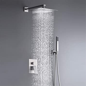 10 Inches Rain Shower System Complete Shower Faucet Set Wall Mounted Rainfall Shower Head With Handheld Rough In Valve Body And Trim Kit Amazon Com