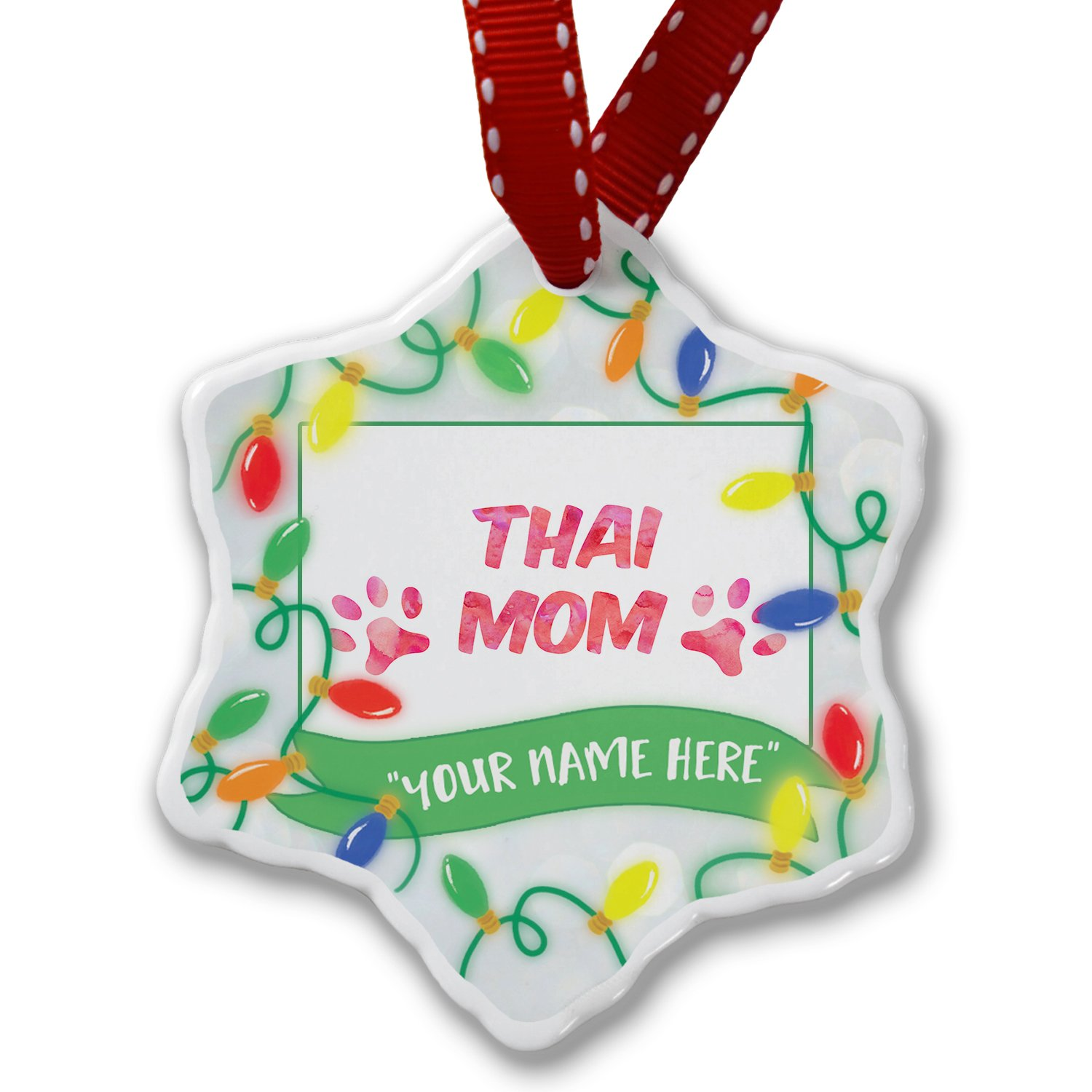 Personalized Name Christmas Ornament, Dog & Cat Mom Thai NEONBLOND