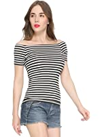 Maggie Tang Short Sleeve Trendy Fitted Off Shoulder Modal Blouse Top T-shirt