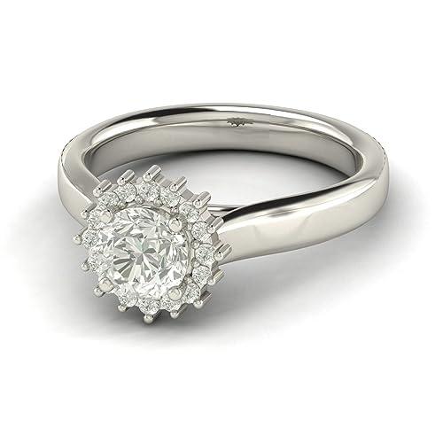 1.3 Ct Vs2 G Sunburst Pave Halo Diamond anillo de compromiso 18 K oro blanco: Amazon.es: Joyería