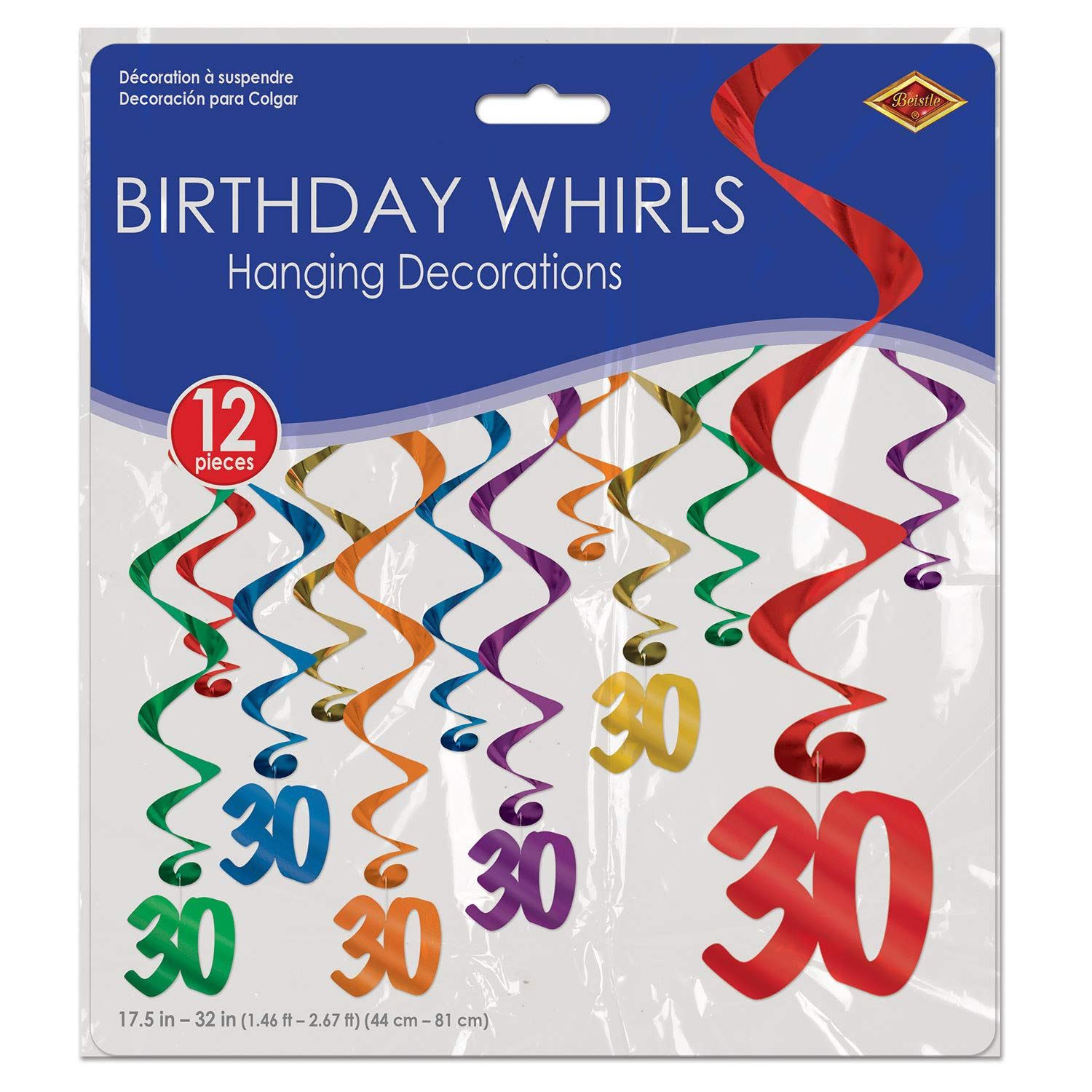 Beistle 30th Birthday Decorations Birthday Party Supplies, Assorted Metallic 30 Whirls 17.5 Inch to 32 Inch, Pack 72