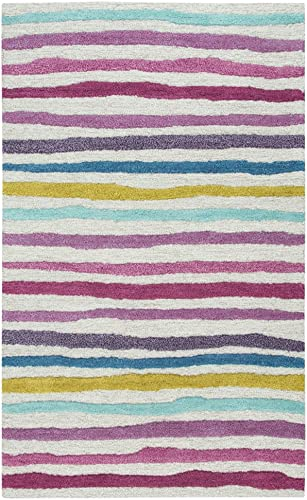 Rizzy Home Play Day Collection Wool Area Rug, 5 x 7 , Ivory Pink Blue Teal Stripes