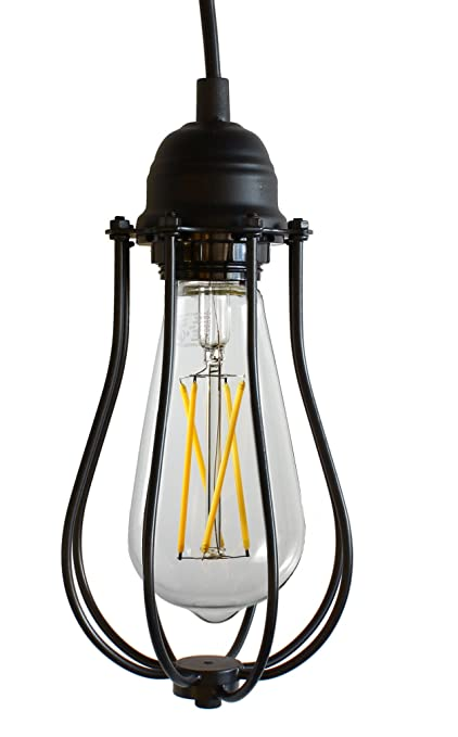 Yuurta industrial vintage style hanging pendant light fixture metal wire cage lamp guard