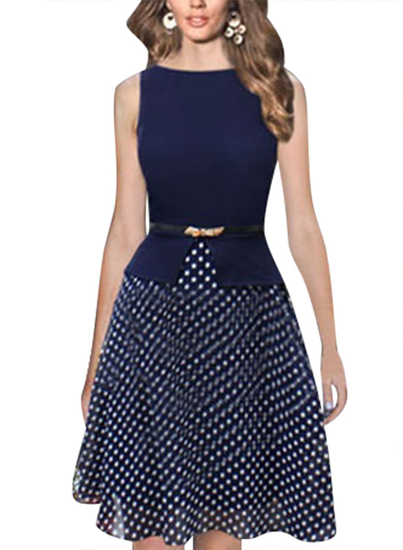 Viwenni Frauen Fashion Tank Chiffon Polka Dot Printed -Kleider mit ...