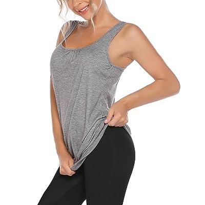 Beyove Womens Sleeveless Workout Tank Top Round Neck Racerback Yoga Shirt Loose Fit Athletic Tank Top