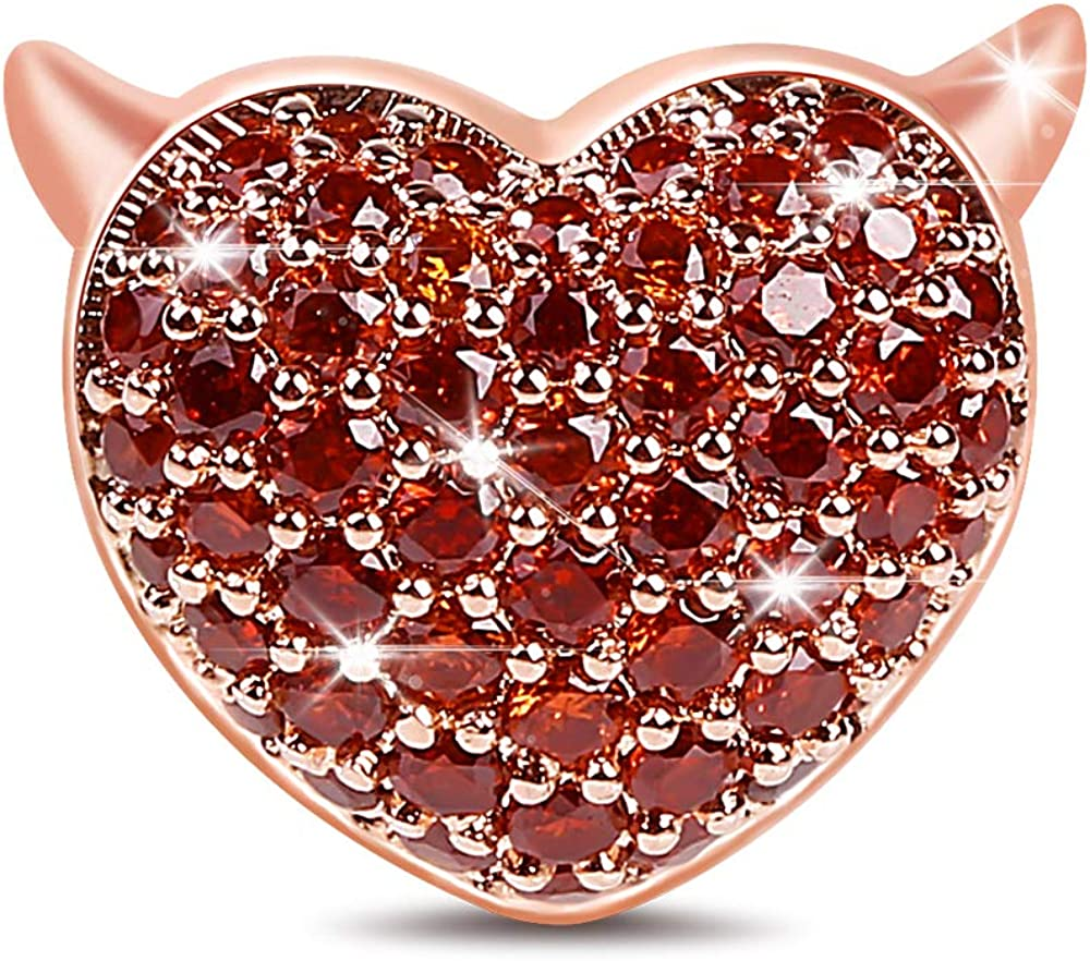 Bead Jewelry Beads Beads for Women Men Dark RED Heart ON Blue CZ Crystal Cute
