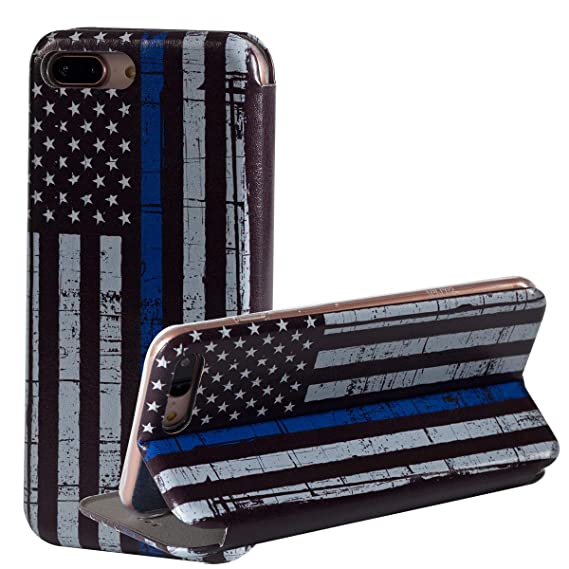 info for 7a368 6facf iPhone 7 Plus Case/iPhone 8 Plus Case,Thin Blue Line American Flag Wallet  Case,Kickstand Folio PU Leather Design Credit Card Slot Flip Protective  Case ...