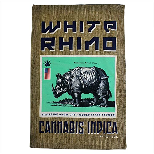 steelplant White Rhino Cannabis Sack Print Pillowcase – Burlap Sack Effect Weed Pillow – for Standard Size 20×26 Insert White Rhino