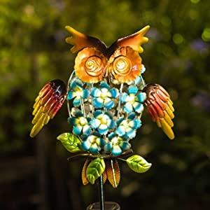 Homeimpro Garden Solar Lights,Owl Pathway Outdoor Stake Metal Lights,Waterproof Warm White LED for Lawn,Patio or Courtyard
