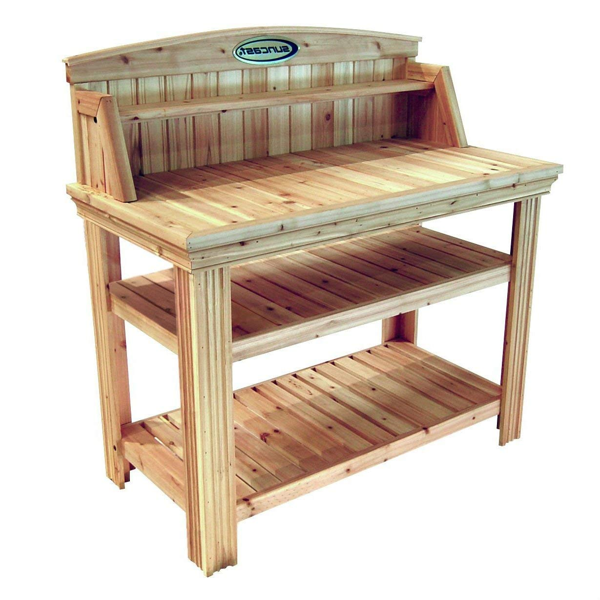StarSun Depot Natural Cedar Wood Potting Bench Garden Work Table with Shelves