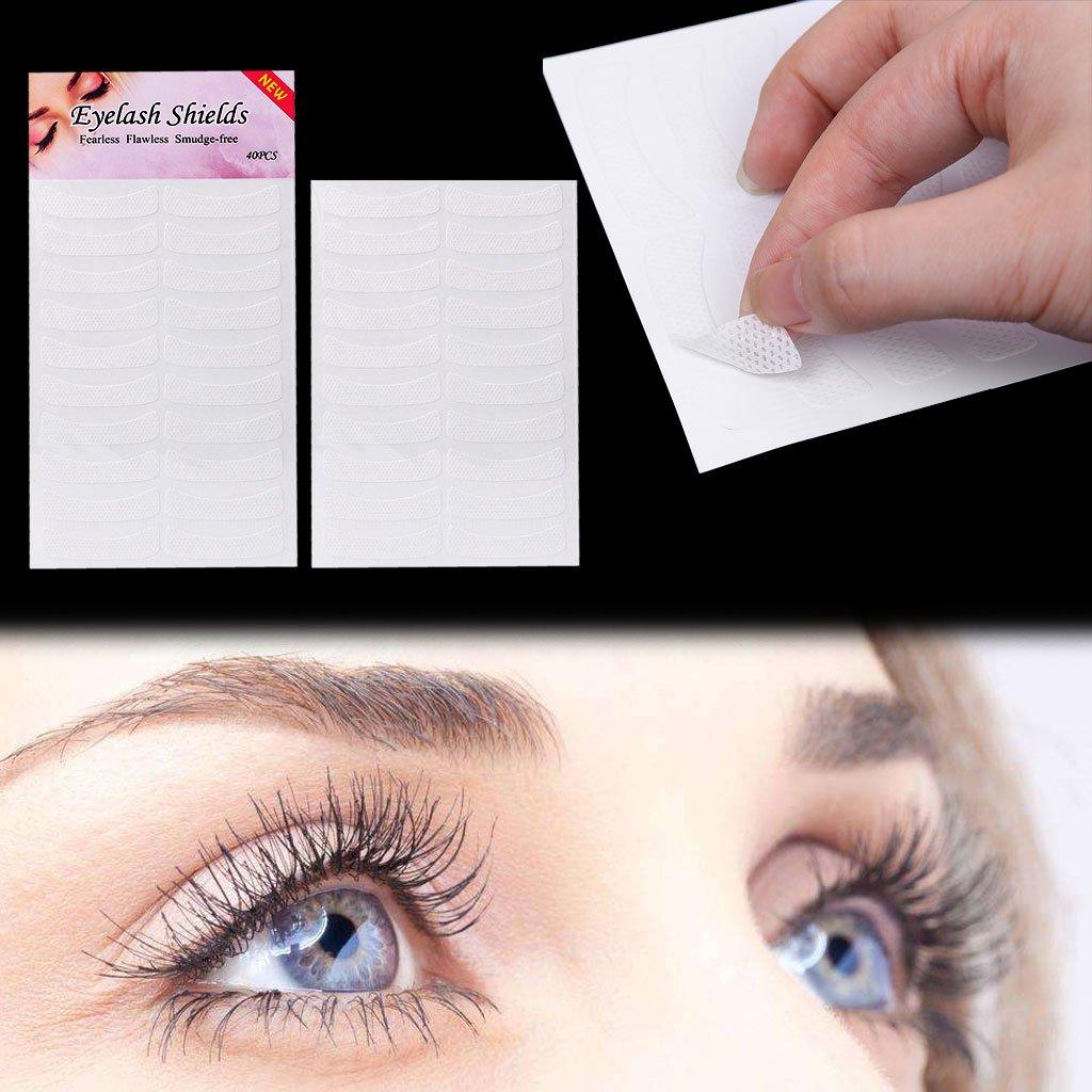 Bogji 40 Pairs Eye Pads for Eyelash Extensions Perming Tint Professional Eye Eyelash Makeup, Non-Woven Cloth, Medical Tape, Eyeshadow Shields(L:4.5cm)