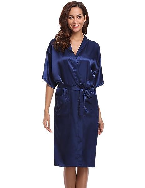 Aibrou Women\'s Kimono Robe Dressing Gown Long Classic Satin Wedding ...