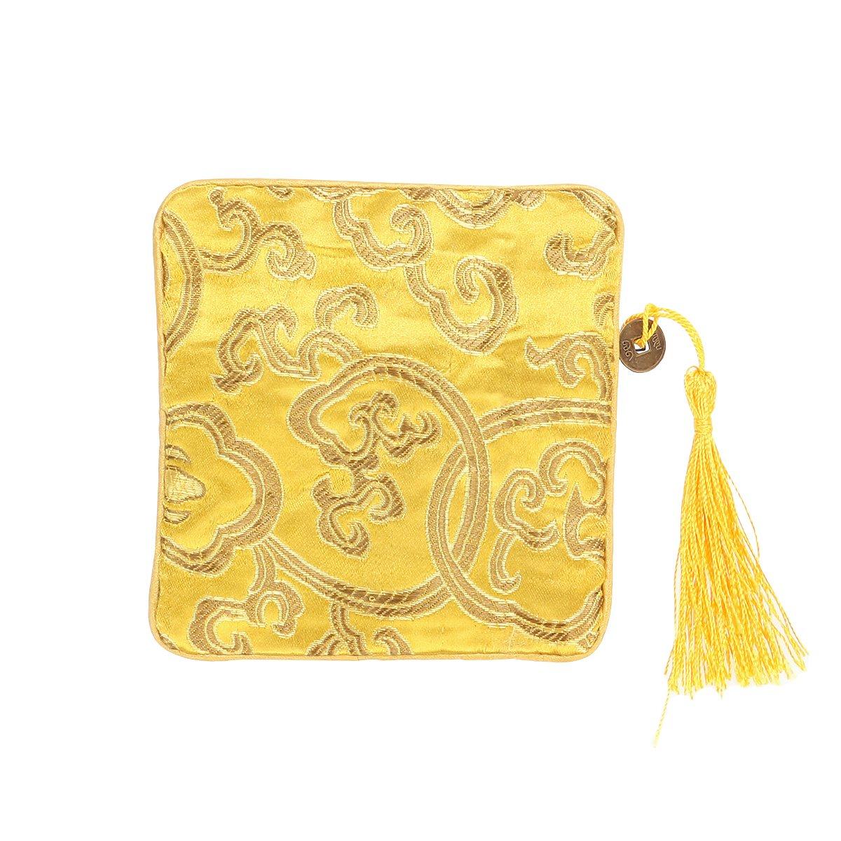 OULII Sac en trousse chinoise en soie Sac à monnaie Brocade brodé Tassel Zipper Wallet (Bright Yellow) Z181815GSVC35476