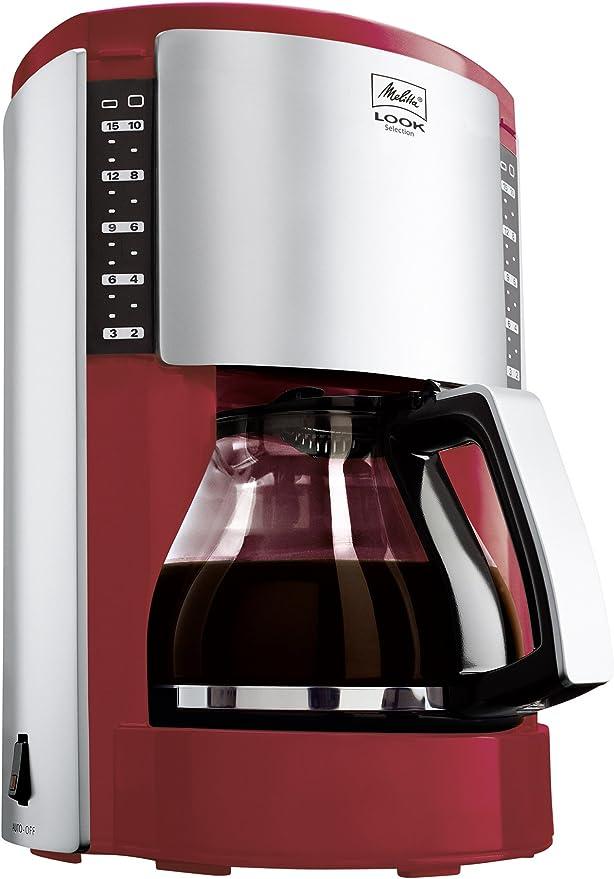 Melitta M 651-0503 Look - Cafetera de goteo, color rojo y plateado ...