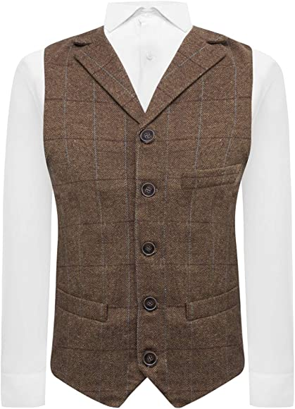 Tailored Fit Tweed Heritage Check Navy Blue Waistcoat
