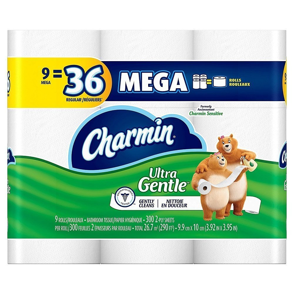 Charmin Sensitive Toilet Paper, Mega Roll, 9 Count by Charmin B00EPEH2JO