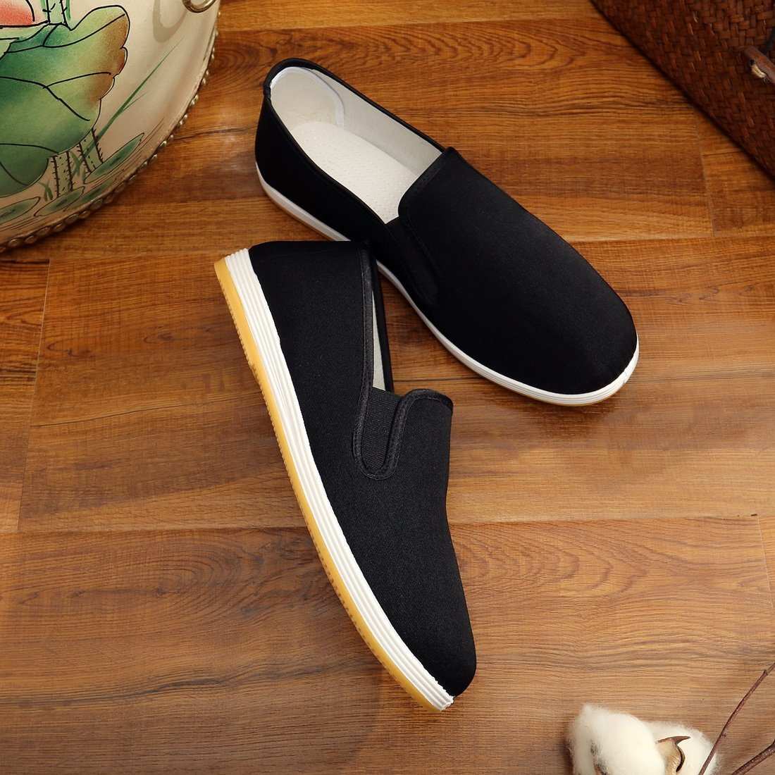 7409df001 APIKA Chinese Traditional Old Beijing Shoes Kung Fu Tai Chi Shoes Rubber  Sole Unisex Black Top Christmas gifts 2018