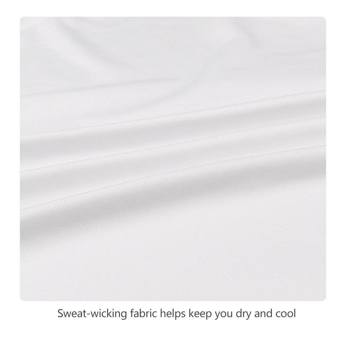 Baleaf Men's Quick Dry Short Sleeve T-Shirt Running Fitness Shirts White Size M by Baleaf (Image #4)