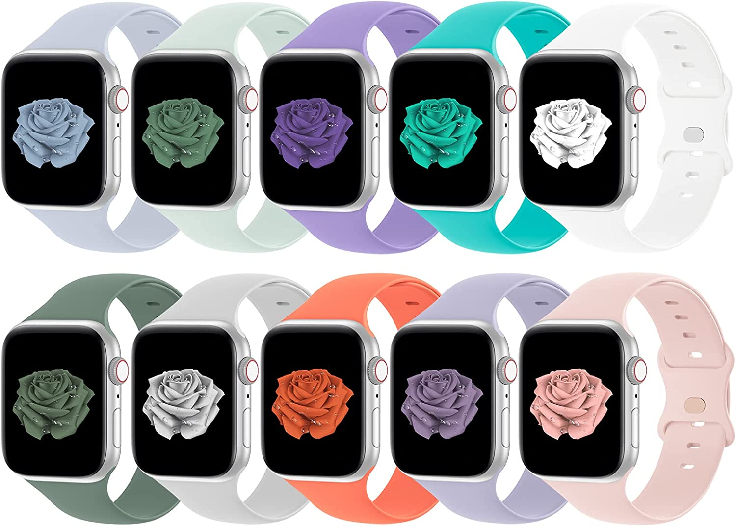 Bandiction Compatible with Apple Watch Series 3 38mm Series 5 40mm iWatch Bands 38mm 40mm, Soft Silicone Sport Replacement Strap Compatible for iWatch SE Series 6 5 4 3 2 1, Sport Edition, 10 Pack