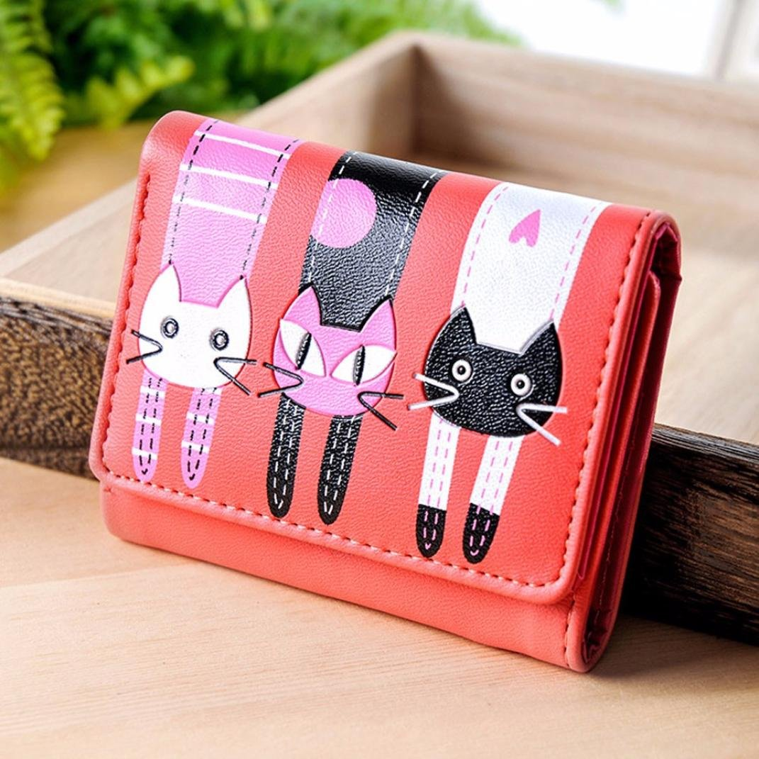Wobuoke Womens Wallet Cute Cat Wallet Coin Purse Trifold Short Purse Card Holders