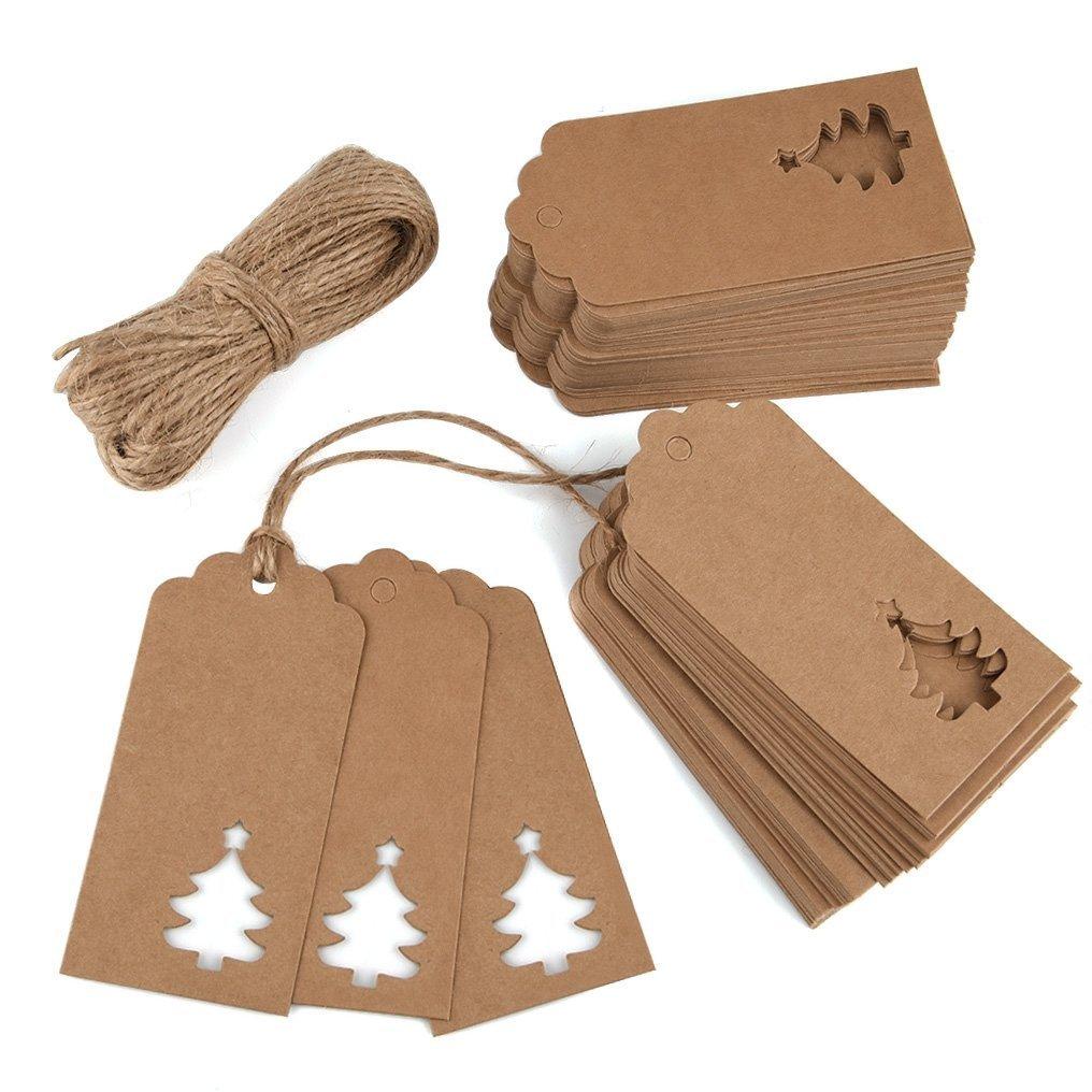 Utro 100pezzi carta kraft etichette per regali cartellini segnalibro TAGS Hollow design albero di Natale con 66piedi ritorti per nozze Christmas Cards White