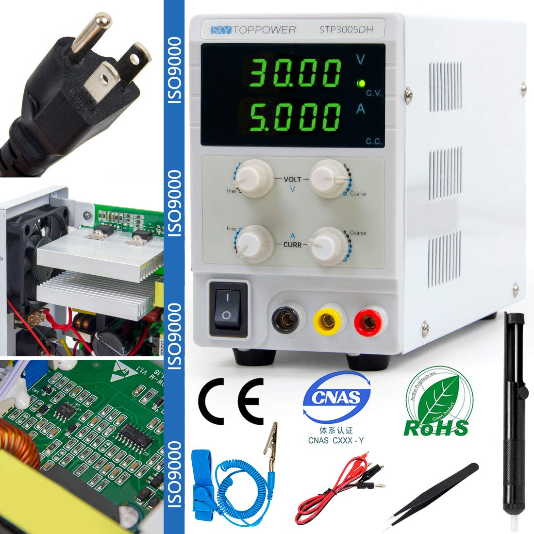 Lab Power Supply Variable DC Bench Adjustable Switching Regulated 30V 5A with 4 Bit Digital Readout LCD Display US Charge 110V/220V Adjustable for Student Engineers DIY by Sky Top Power