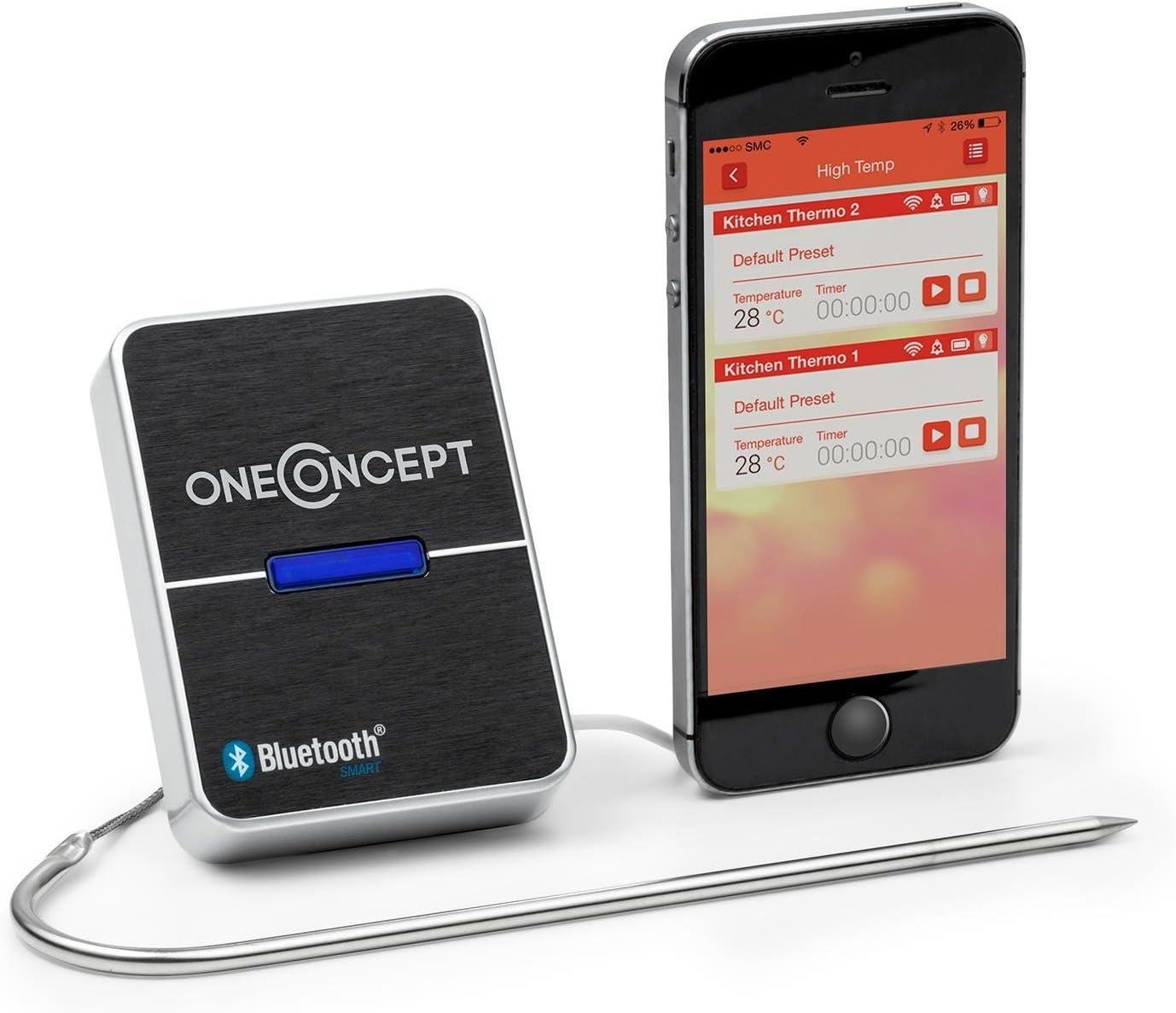 oneConcept Meatmaster - Termómetro para carne, Sensor Parrilla, Horno, Para cocinar asados, Bluetooth 4.0, Monitoreo de temperatura con aplicación, Teléfonos inteligentes Android, Sonda 100 cm: Amazon.es: Hogar