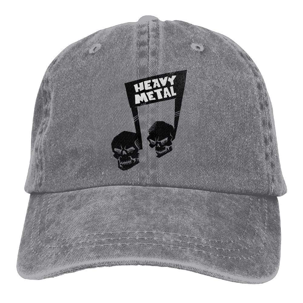 HTHYTJC Heavy Metal Shull Music Note Denim Hat Adjustable Womens ...