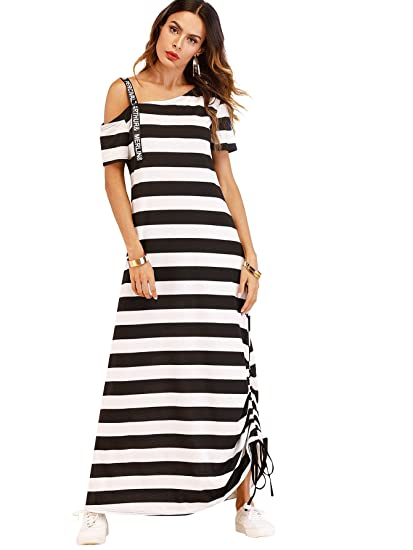 Milumia Womens Letter Print One Shoulder Striped Short Sleeve