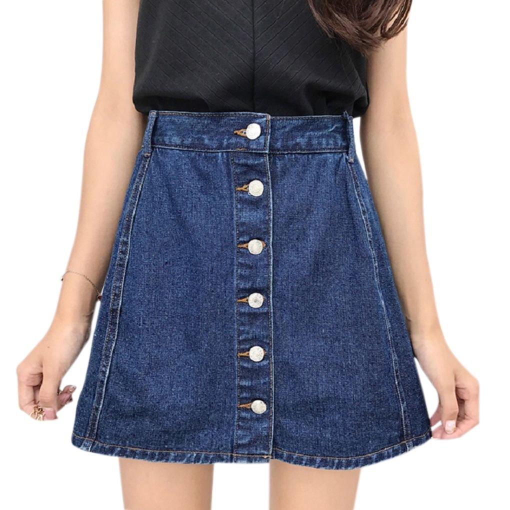 Harmily Women Button Denim Skirt High Waist Anti Emptied Summer Mini Jeans Skirt
