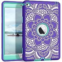 iPad Mini 4 Case A1538/A1550, Hocase Rugged Hybrid Double Layer Shockproof Protective Hard Rubber Case for Apple iPad Mini 4 Retina - Purple Flower/Aqua