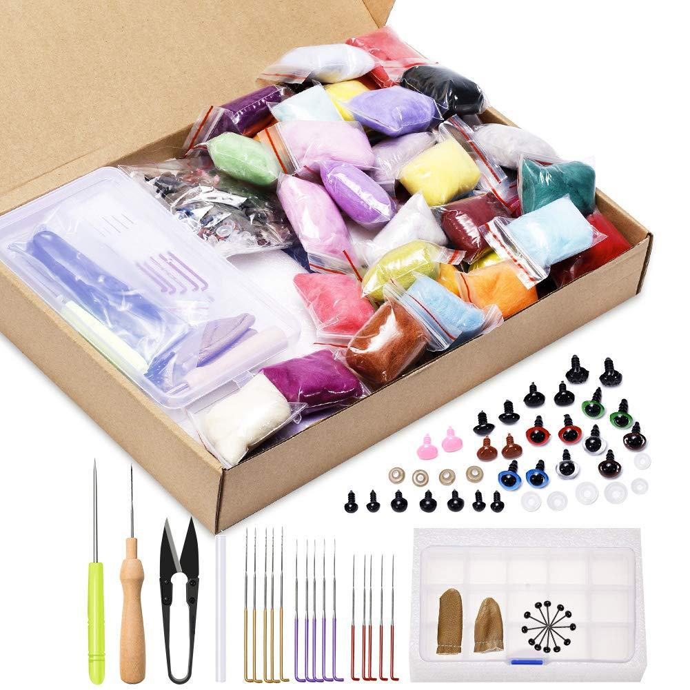 Foam Mat Needle Felting Kit with Color Coded Felting Needles Jupean 60 Rainbow Colors Wool Roving Kit Wool Felt Tools for Felted Animal Gift Fibre Yarn Needle Felting Supplies