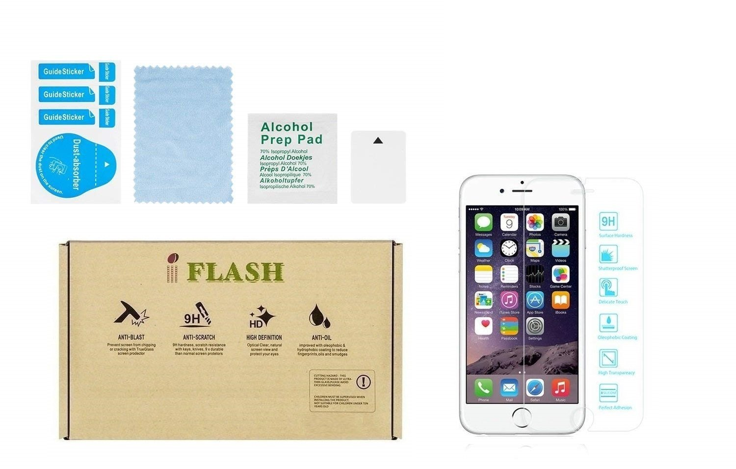 iFlash Crystal Clear HD Tempered Glass Screen Protector Compatible for Apple iPhone 8 Plus & iPhone 7 Plus [5.5'' inch] 2017, 2016