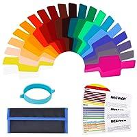 Neewer Universal flash della fotocamera in gel trasparente colore correzione Balance illuminazione kit filtro con fascia di fissaggio per studio fotografico flash stroboscopico (20pezzi)