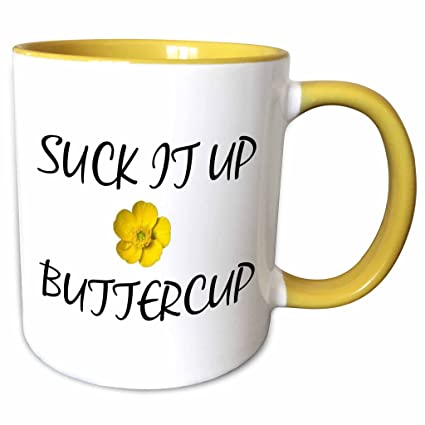 3dRose Xander funny quotes - Suck it up Buttercup - 15oz Two-Tone Yellow  Mug (mug_220064_13)