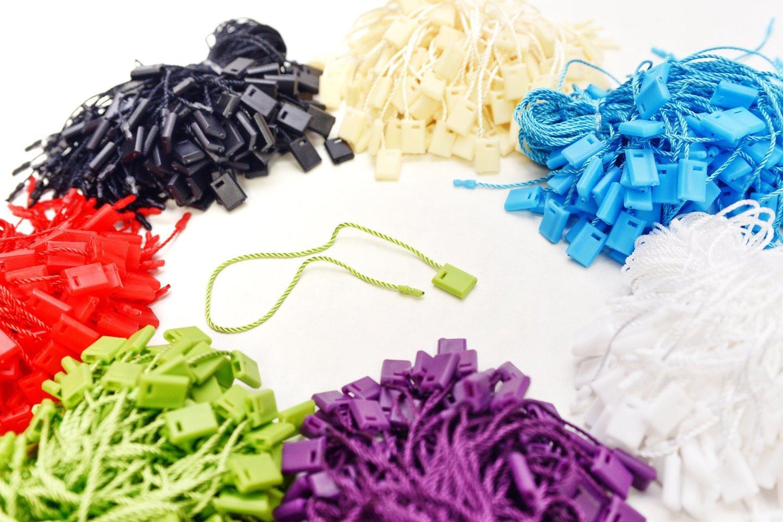 """7"""" 700 Pcs Mix Color Hang Tag Nylon String Snap Lock Pin Loop Fastener Hook Ties"""