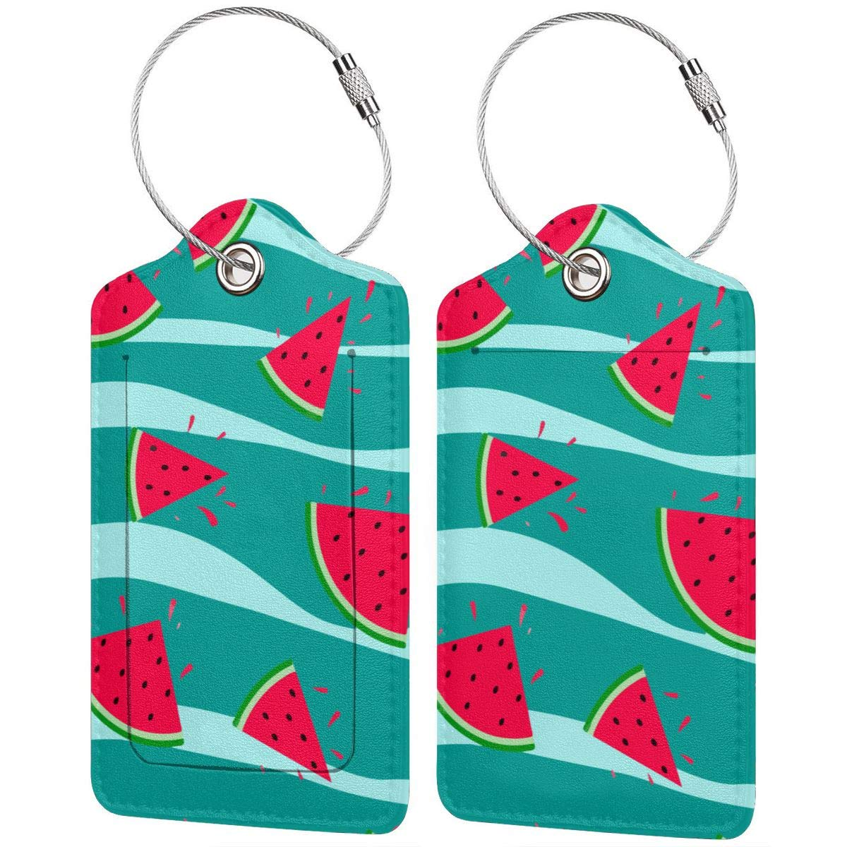 Watermelon Green Wave Leather Luggage Tags Baggage Bag Instrument Tag Travel Labels Accessories with Privacy Cover