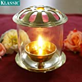 Klassic Akhand Diya with Borosilicate Glass Shade for Home, Temples & Special Occasions