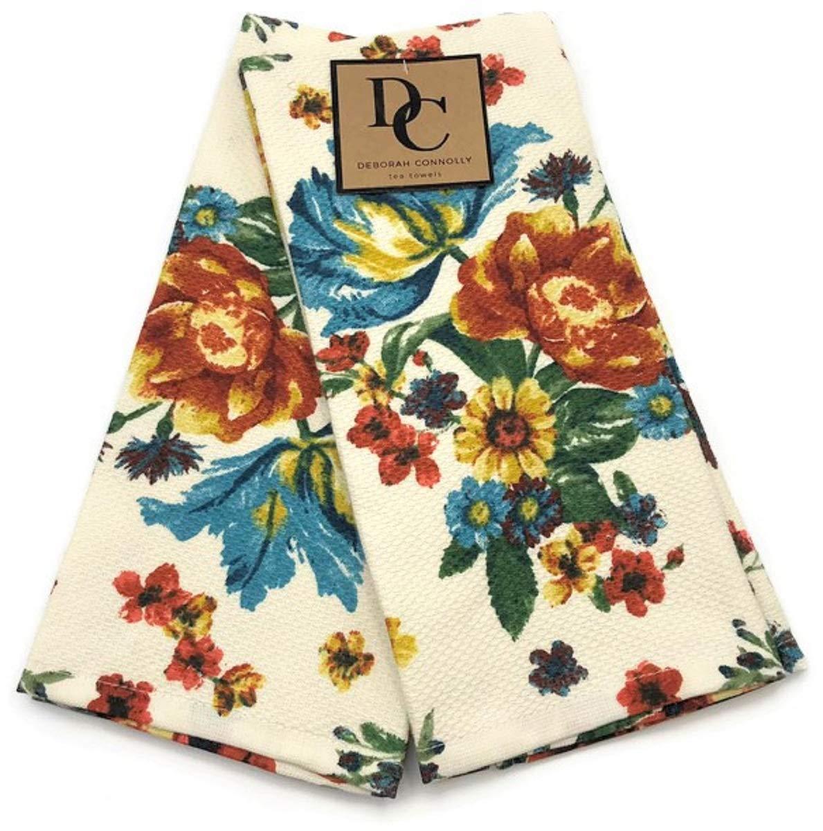 Deborah Connolly Autumn Copper & Teal Floral Kitchen Towel Set