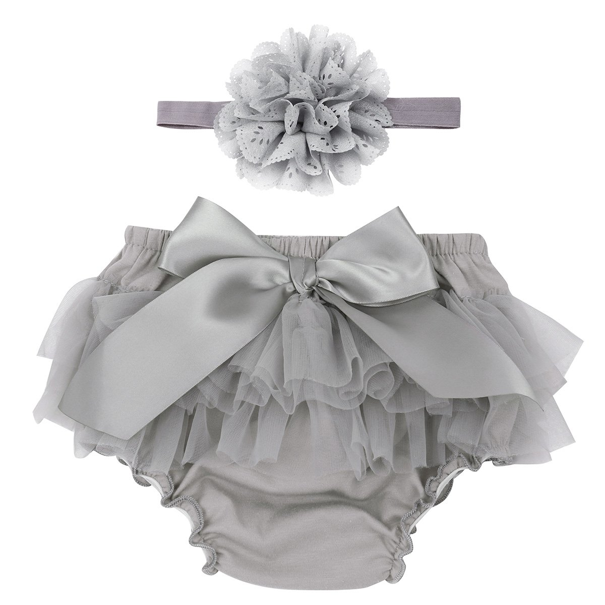 Alvivi Infant Baby Girls Cotton Tulle Ruffle Diaper Covers Bloomer with Flower Headband