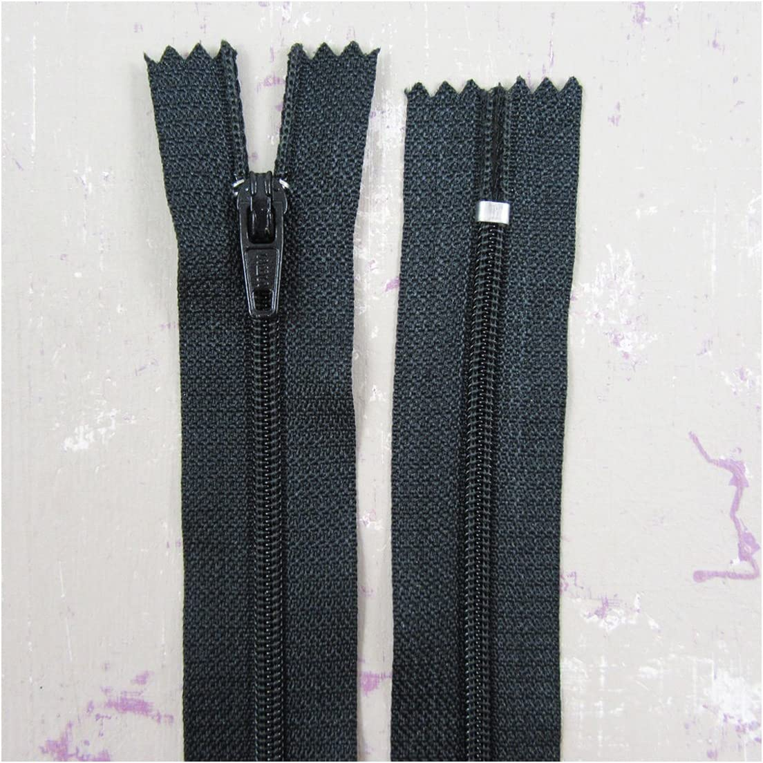 "Black YKK nylon concealed closed end zips 2 x 8/"" 20cm Excellent quality"