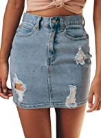 Pivaconis Womens Summer Ripped Bodycon Denim Mini Skirt