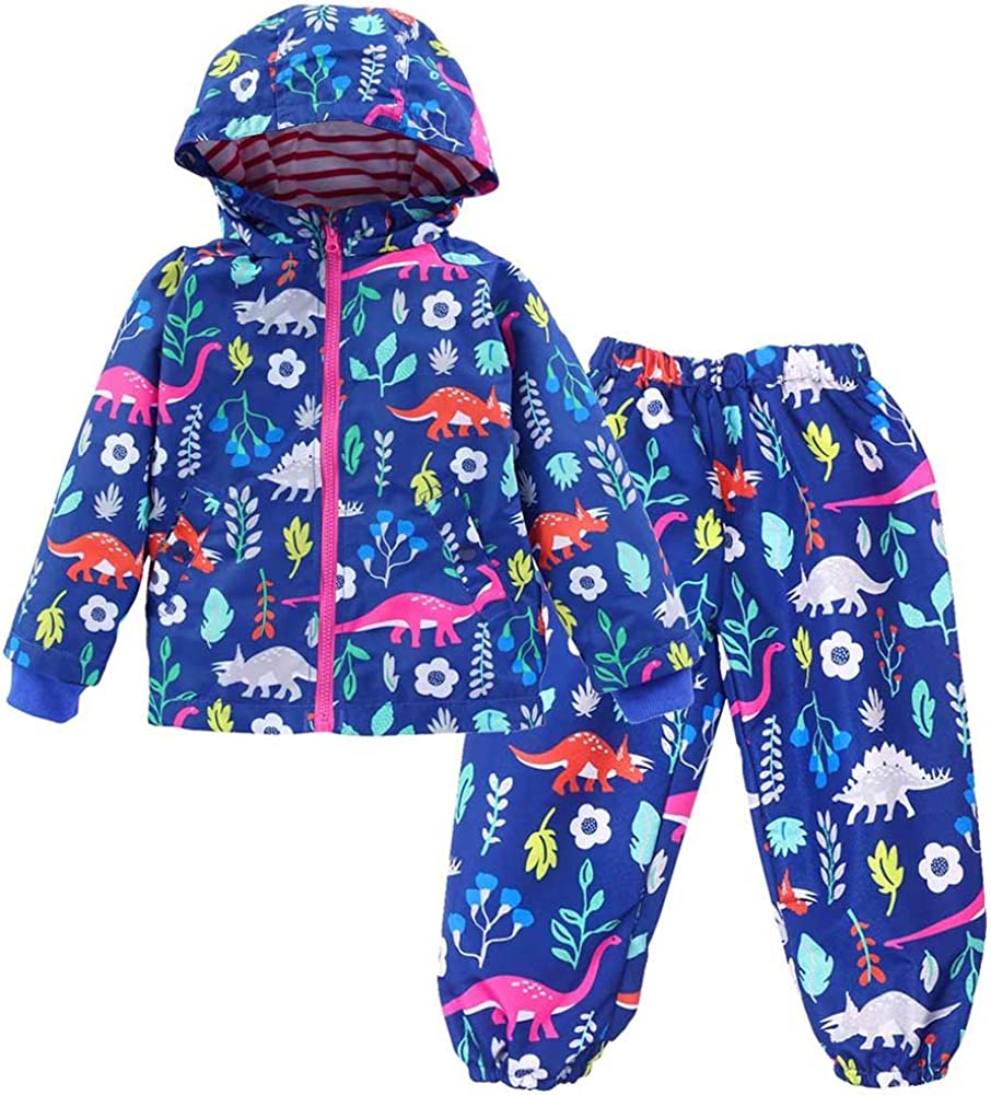 Hindom School Children Kids Waterproof Hooded Rain Coat Jacket Outwear Cute Floral Raincoats