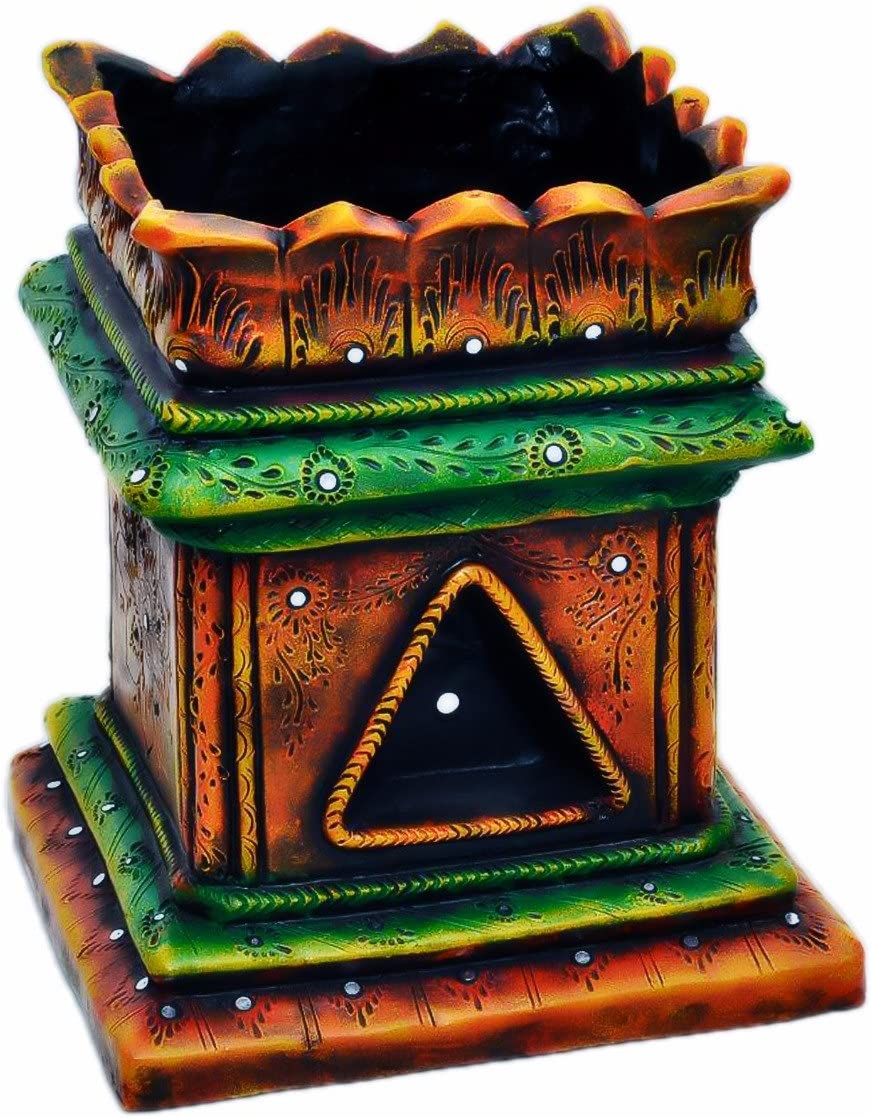 Handmade Terracotta/Clay Brindavan/Tulasi/Tulsi Pot/Ocimum tenuiflorum/Ocimum Sanctum/holy Basil Plant Container Indoor- Outdoor Planter (Multi Color)