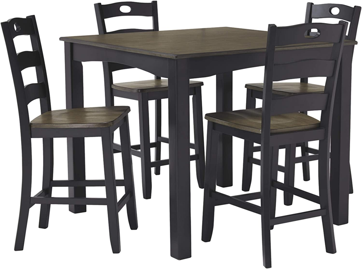 Signature Design By Ashley - Froshburg Square Counter Table Set - Set of 5 - Casual Style - Grayish Brown/Black