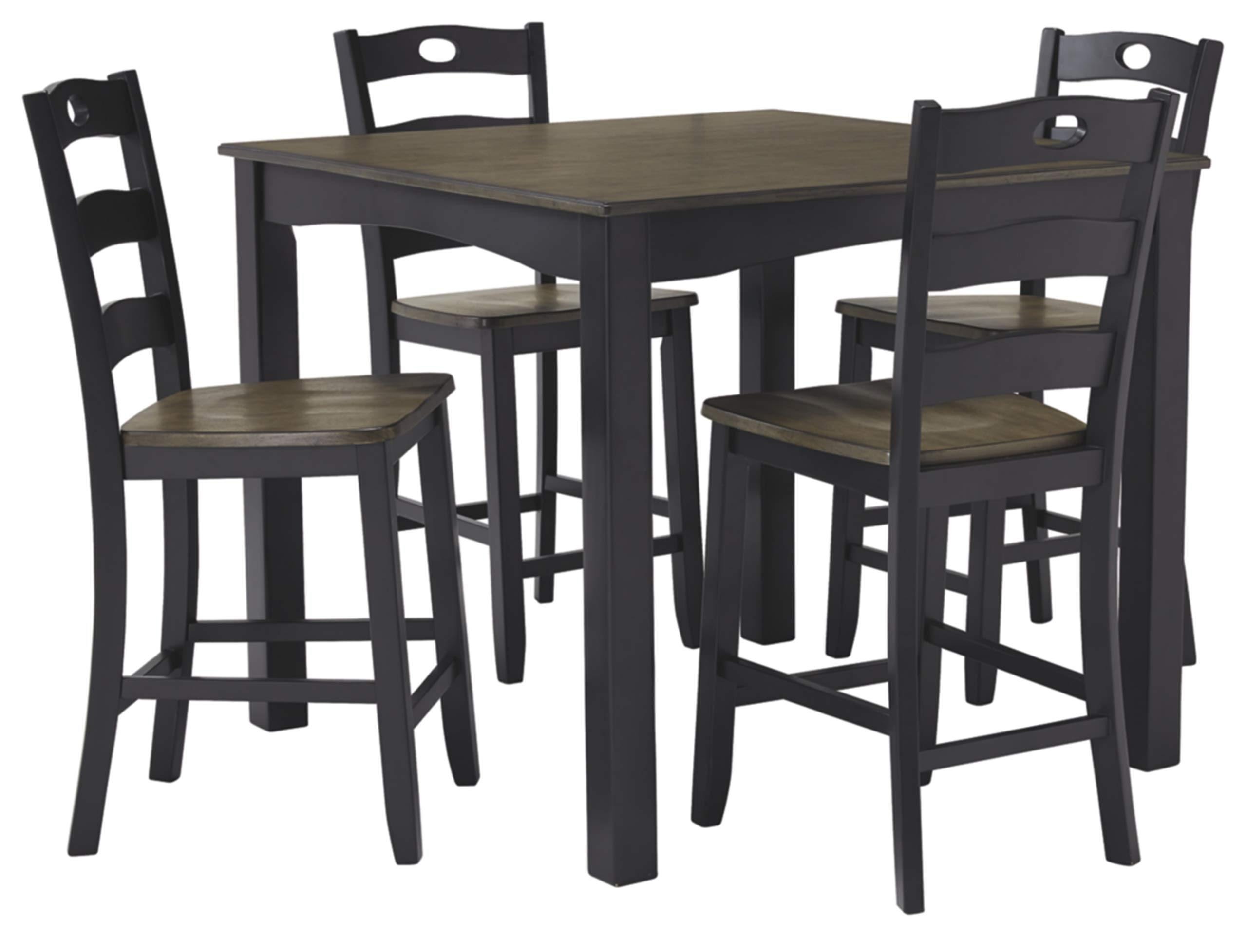 Signature Design by Ashley D338-223 Froshburg Counter Height Dining Room Table and Bar Stools (Set of 5), Grayish Brown/Black