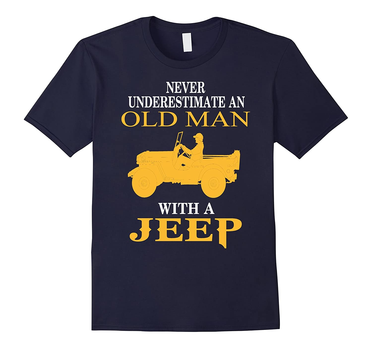 Mens Old Man With A Jeep - Jeep Man T-shirt-TD